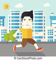 Jogger - An asian man jogging on street vector flat design...