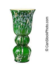 Green flower vase isolated on white background