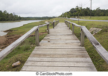 Wooden walkway in the field