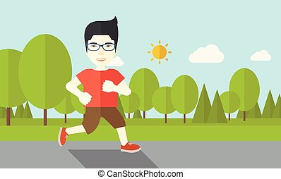 Jogger. - An asian man in glasses jogging in the park vector...