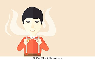 Stop smoking - An asian man breaking the cigarette vector...