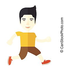 Jogger. - An asian man jogging on street vector flat design...