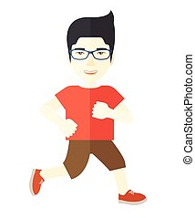 Jogger - An asian man in glasses jogging vector flat design...