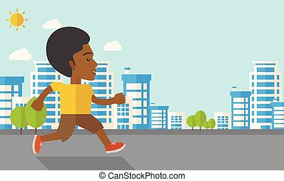Jogger. - An african-american man jogging on street vector...