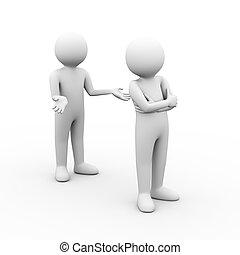 3d people argument - 3d illustration of disagree people...