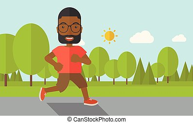 Jogger. - An african-american man with beard in glasses...