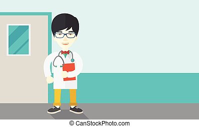 Doctor. - A happy asian doctor in glasses standing and...