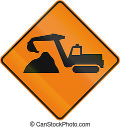 Diggers Ahead in Canada - TemporaryWorks road sign in...