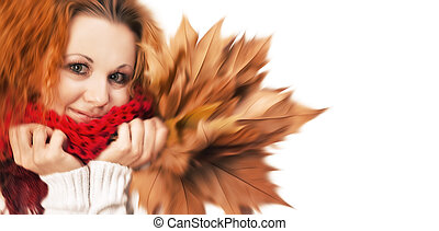 girl with yellow autumn leaves - Abstract blurred image of...