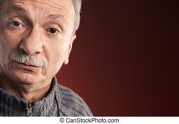 elderly man with a surprised expression - Close-up portrait...