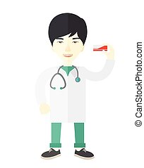 Pharmacist - An asian pharmacist standing vector flat design...