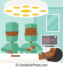 Operation. - Two african-american surgeons working and...
