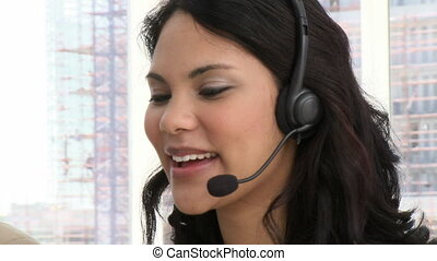 Laughing customer service representative at work