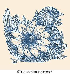 Hand drawn doodle bird and flower