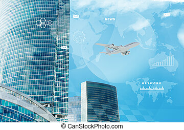 High-rise buildings with jet on blue sky background