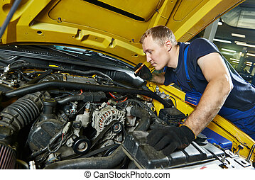 auto mechanic repairman at work - auto mechanic repairman...