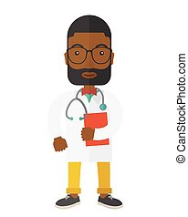 Doctor. - A happy african-american doctor in glasses holding...