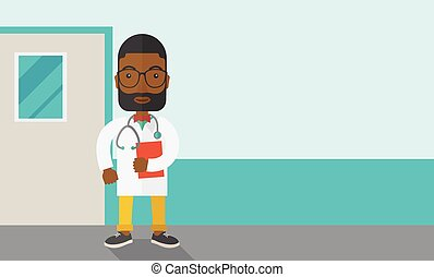 Doctor - A happy african-american doctor in glasses standing...