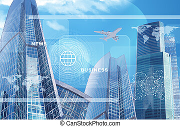 High-rise buildings with jet and numbers - High-rise...