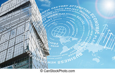 High-rise buildings with arrows on blue sky background