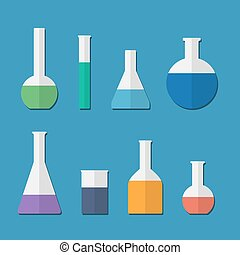 Chemical tubes icons set