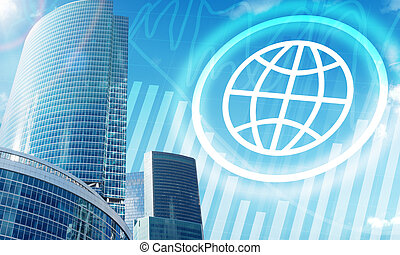 High-rise buildings with globe icon on blue sky background