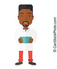Doctor. - A happy african-american doctor holding a...