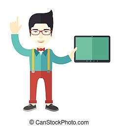 Doctor with tablet.