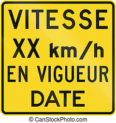Speed In Kmh Since Date in Canada - Warning road sign in...