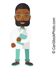 Doctor - A happy african-american hipster doctor in glasses...