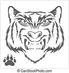 Tigers head and foot print tattoo design. Black isolated on...
