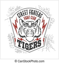 Street fighters - Fighting club emblem, label, badge, logo -...