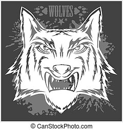 Retro wolf mascot athletic design complete with head.