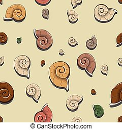 Vector seamless pattern with sea shells