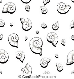 Helix black and white - Seamless colorless sea shell helix...