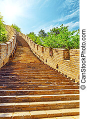 Stone staircase of Great Wall of China, section...