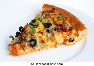 "Pizza slice on a white plate - A slice of ""supreme\"" pizza..."