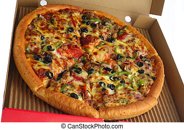 Whole pizza in a box - A pizza with all the trimmings in a...