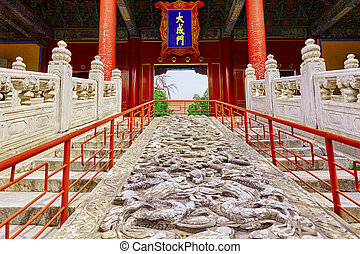 Stone stairs with dragons in Temple of Confucius at...