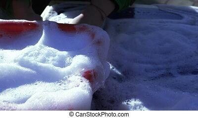 Soap white foam