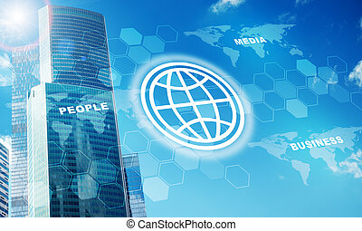High-rise buildings with globe symbol on blue sky background