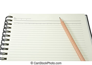 Hard cover note book with pencil on isolated white...