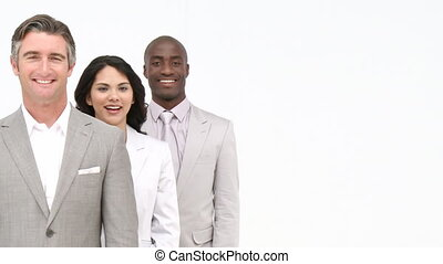 Multi-ethnic business team standing - Multi-ethnic business...