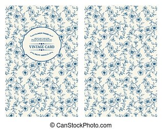 Lable card - Lable card with flower pattern on white...