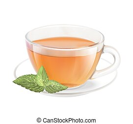Tea cup. - Tea cup isolated over white background. Vector...