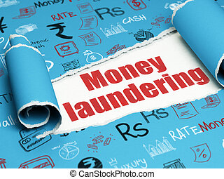 Banking concept: red text Money Laundering under the piece...