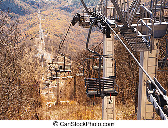 Cableway over highland - Cableway without people over the...