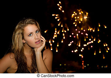 Girl Portrait - Beautiful modle at night with lights and...
