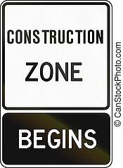 Construction Zone Begins in Canada - Regulatory sign in...