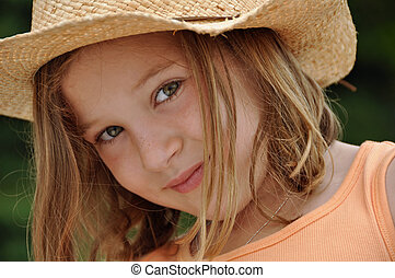 beautiful cowgirl - a beautiful little girl wears a cowboy...